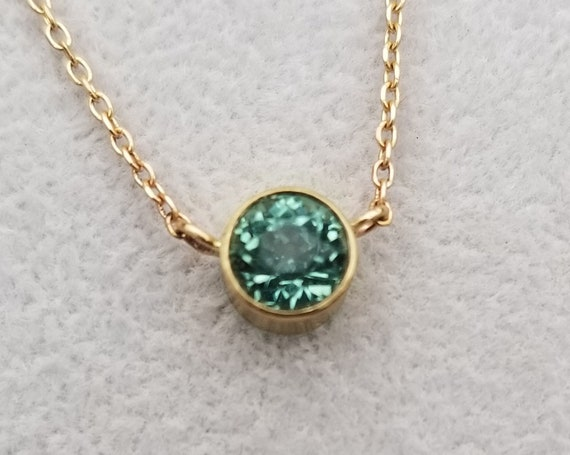 Round Green Tourmaline Yellow Gold Necklace, Keepsake Gift for Her