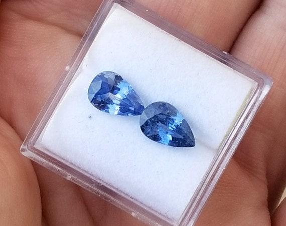 Blue Sapphire Pair 2cts tw Pear Shape