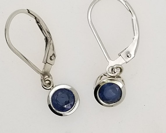 Blue Sapphire Dangle Earrings in 14k White Gold