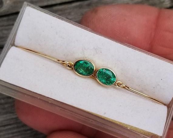 Emerald Bezel Set 14K Gold  Earrings Oval Shape