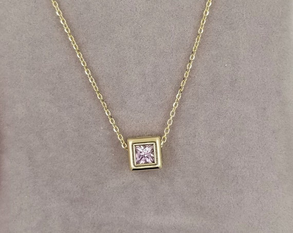 Pink Sapphire Gold Dainty Necklace. September Birthstone.