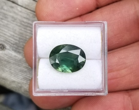 Large 4.05 Carats Green Sapphire 11.9x9.3 MM Oval