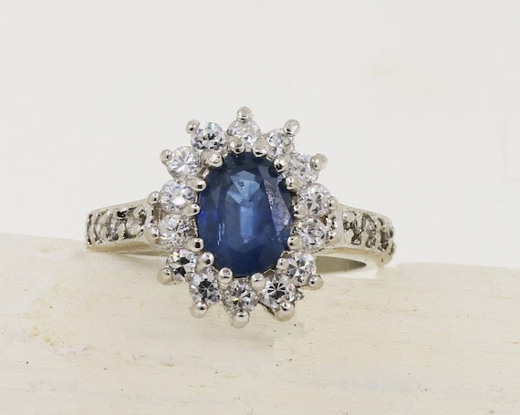 Blue Sapphire 8x6 MM Sterling Silver Ring
