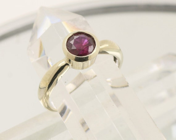 Ruby 6 mm Round Bezel Set 14k Yellow Gold Ring July Gemstone