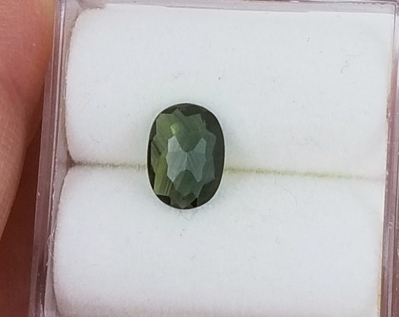 Rose Cut Natural Blue Green Sapphire 7x5mm Oval