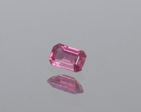Pink Purple Sapphire 7.4 x 4.7mm Emerald Cut