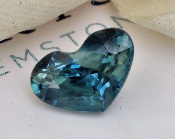 Heart Shape Blue Green Sapphire 10 x 6.8 MM