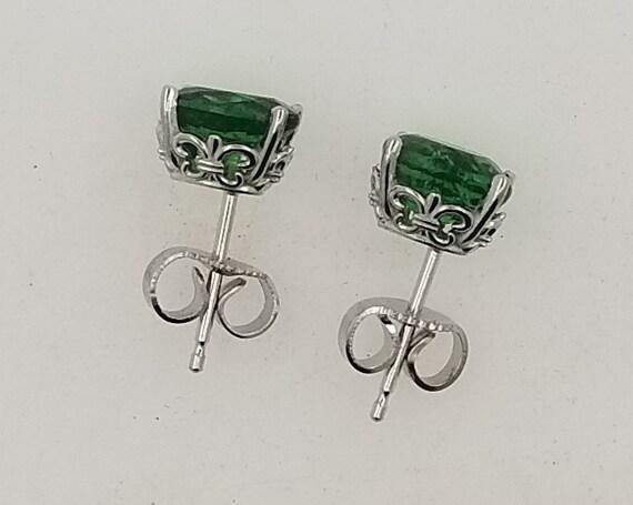 Green Garnet 7x5MM Oval Earrings in 14k White Gold Studs