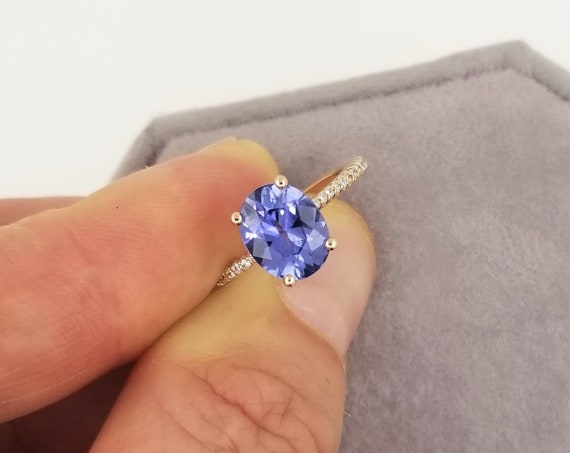 Lavender Blue Sapphire Blake Lively Style Rose Gold Engagement Ring