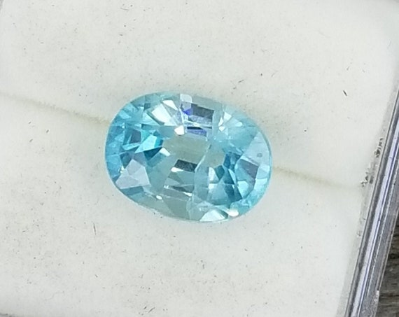 Natural Blue Zircon 8.7 x 6.5mm Oval