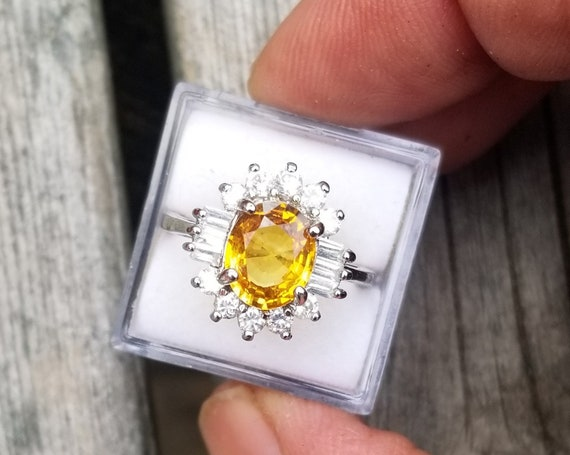 Natural 9x7MM Oval Yellow Sapphire  Sterling Silver Ring