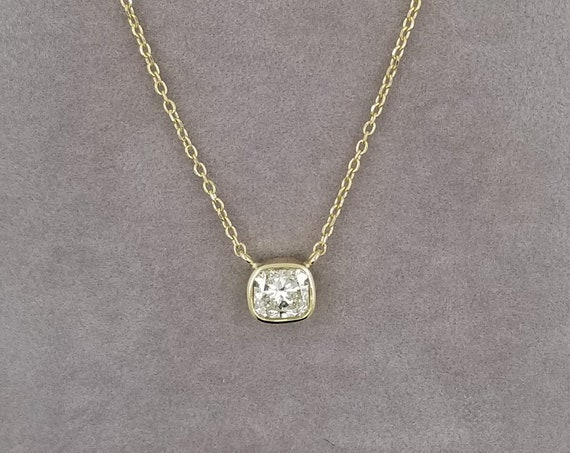 Radiant Cut Diamond Necklace in 14k Gold