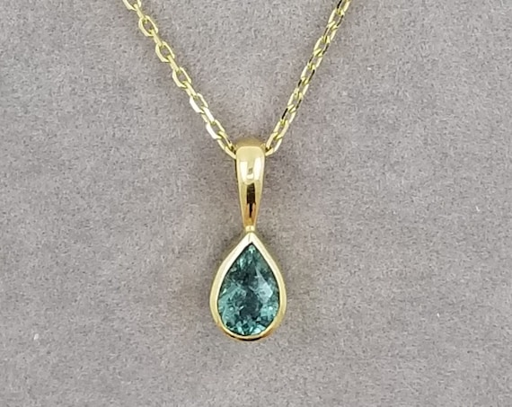 Pear Shaped Blue Green Tourmaline 0.39ct 14k Gold Dainty Pendant