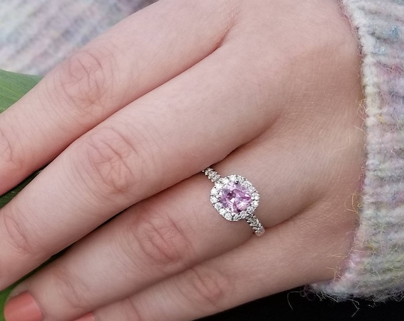 5.6mm Cushion Pink Sapphire Diamond Halo Engagement Ring