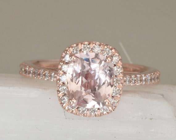 Peach Sapphire Diamond Halo Rose Gold Engagement Ring