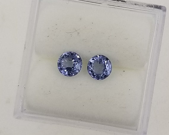 ON HOLD Purple Blue Sapphire 4.5MM Round Pair for Earrrings