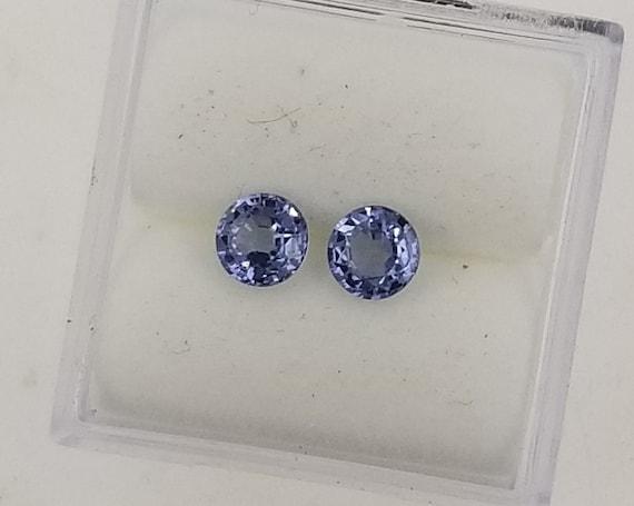 Purple Blue Sapphire 4.5MM Round Pair for Earrrings
