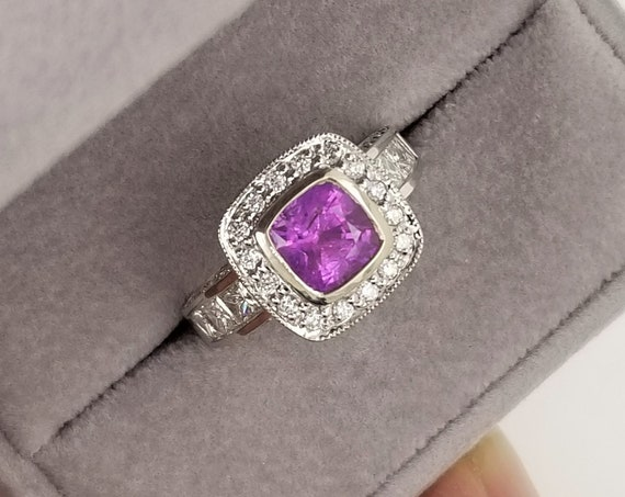 Cushion Pink Sapphire Diamond Ring with 2.20ct Natural Pink Sapphire