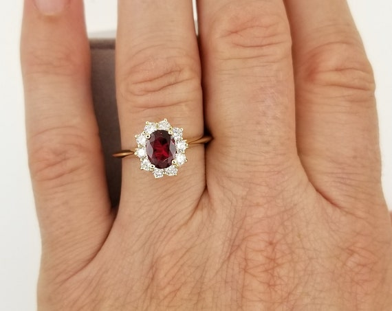 Natural Red Spinel Diamond Cluster Ring. Oval Engagement