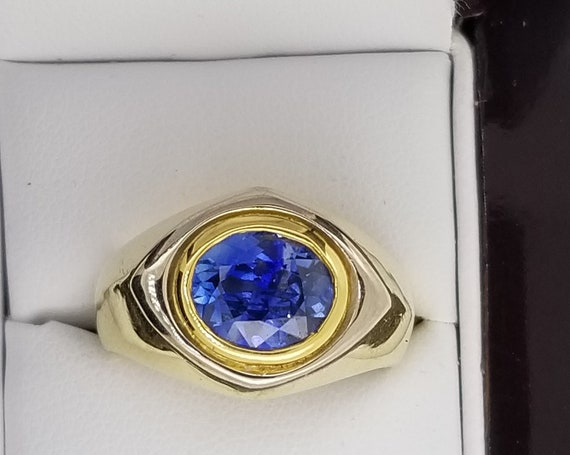 Oval 9x7MM Blue Sapphire 14k Yellow White Gold Ring