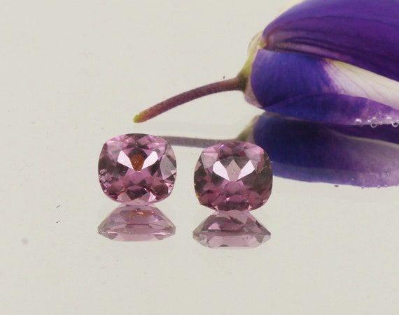 Natural Purple Spinel Pair 6.3 x 5.9mm Cushion Cut