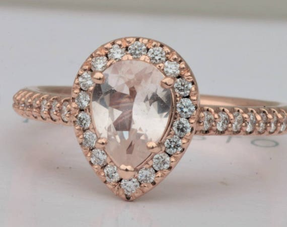 Rose Gold Diamond Halo Pear Peach Sapphire Engagement Ring