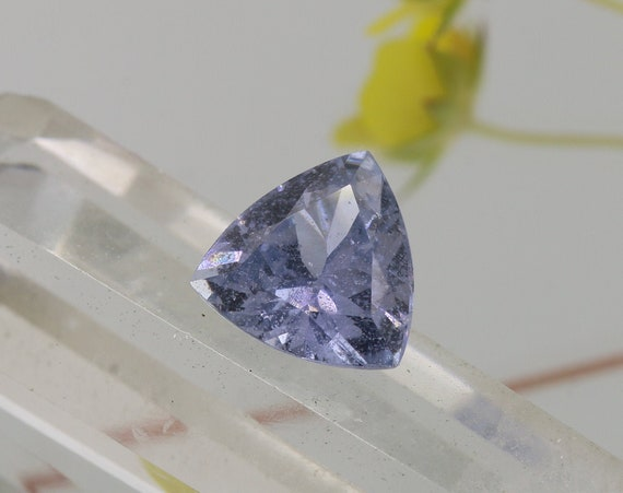 Natural Lavender Sapphire 9.7mm Trilliant Cut Over 3.80 cts