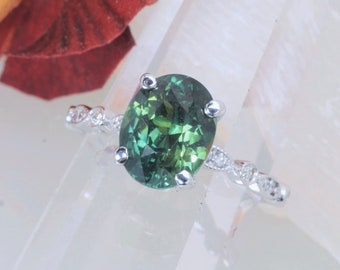 Blue Green Sapphire Vintage Inspired Ring with 3.44ct Oval Blue Green Sapphire