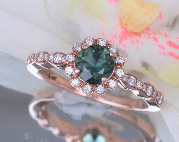 Blue Green Sapphire Rose Gold Engagement Ring