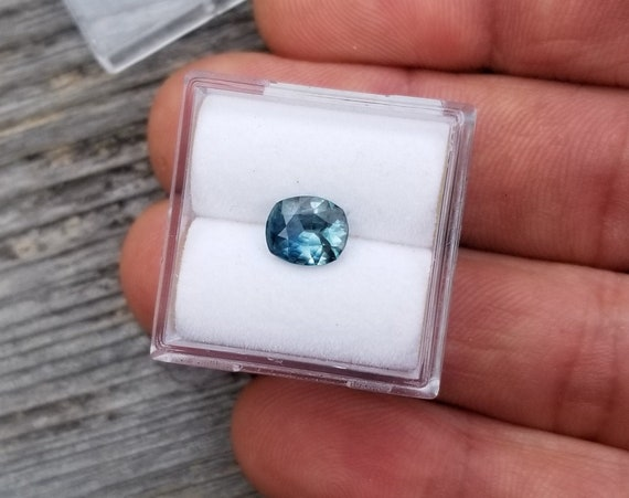 Ceylon Blue Green Sapphire 7x6MM Cushion Shape Precision Cut