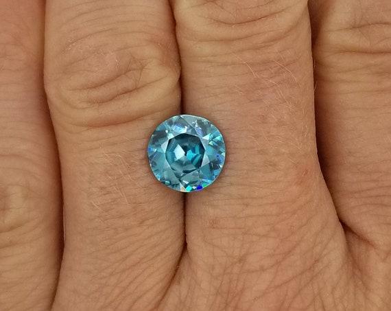 Natural Blue Zircon 4.30cts Round Brilliant Cut December Birthstone
