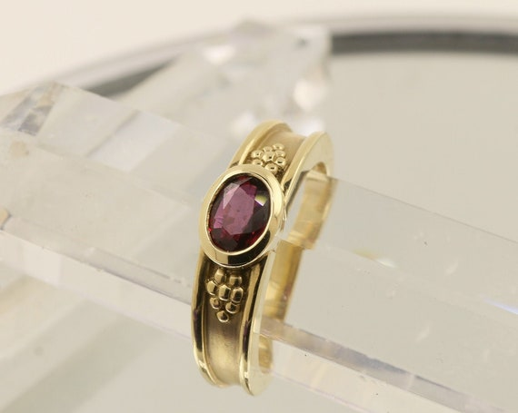 Ceylon Ruby Bezel Set 14k Gold Ring July Birthstone