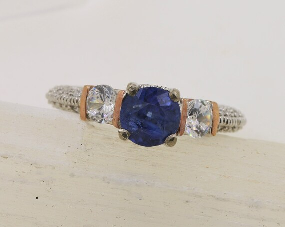 Ceylon Blue Sapphire 6.5 MM Sterling Silver Ring