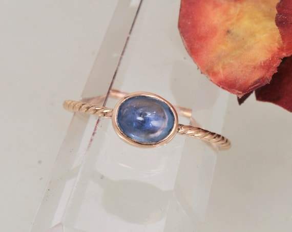 Blue Sapphire Rose Gold Stacking Ring