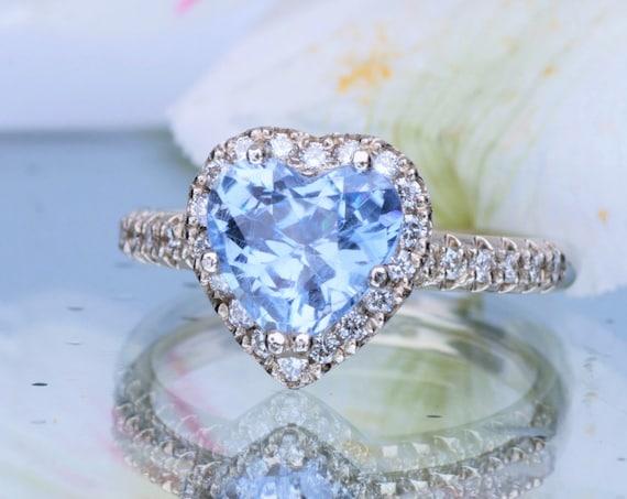 1.76ct Heart Ceylon Blue Sapphire Diamond Halo with Fleur de Lis Setting