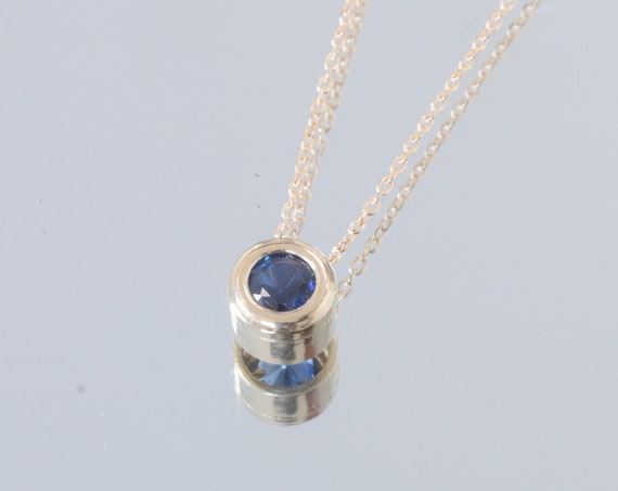 Blue Sapphire Gold Layering Necklace