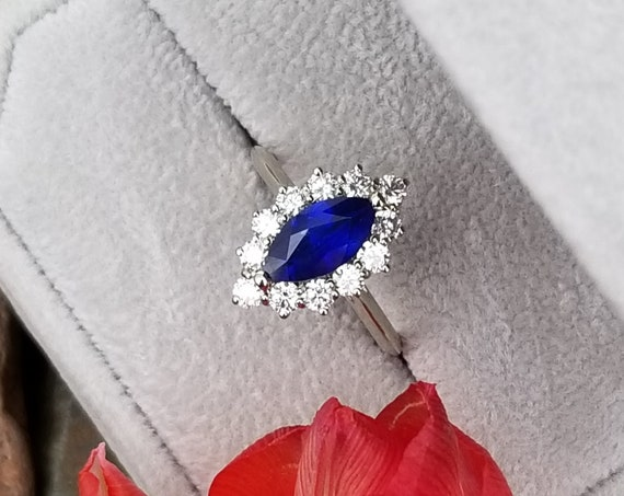 Marquise Blue Sapphire Diamond Cluster Ring