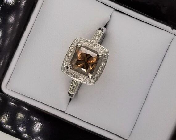 Chocolate Diamond 14K White Gold Diamond Halo Ring