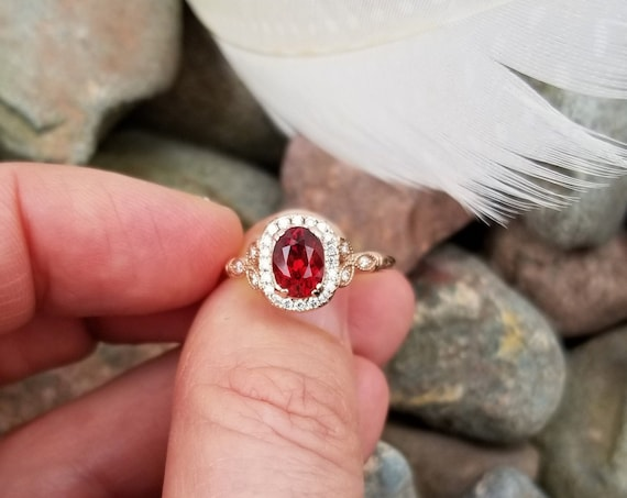 Red Spinel Rose Gold Engagement Ring