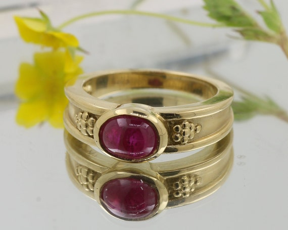 Oval Ruby Bezel Set 14k Gold Ring 8x6mm Cabochon