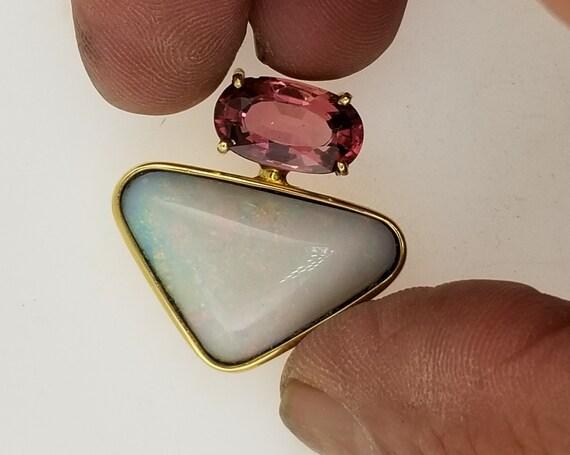 Unique Pendant Australian Opal and Pink Tourmaline