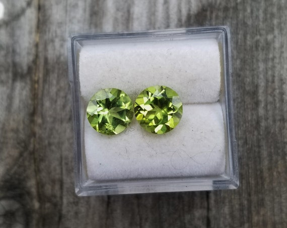 Peridot 7 MM Round Pair for Earrings