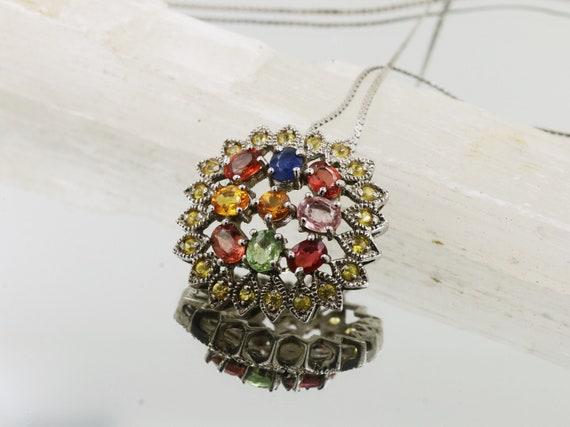 Fine Sterling Silver Sapphire Pendant