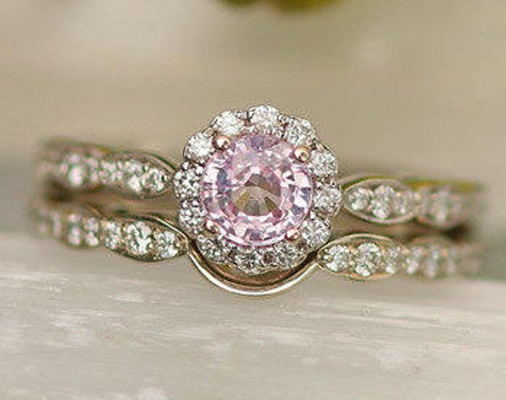 Flower Inspired Bridal Set with Pink Sapphire