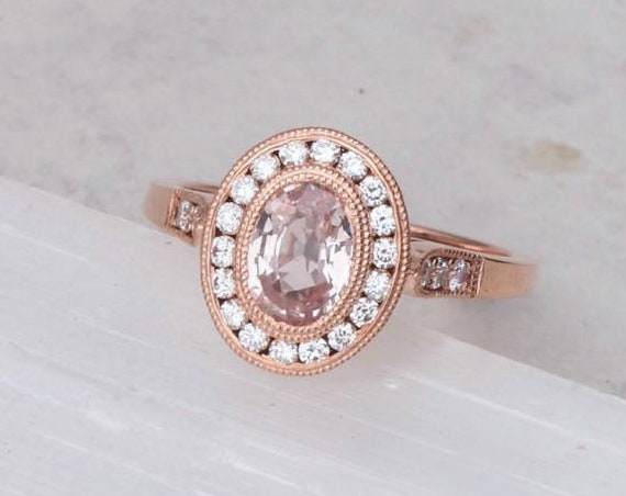 Peach Sapphire Engagement Ring in 14k Rose Gold