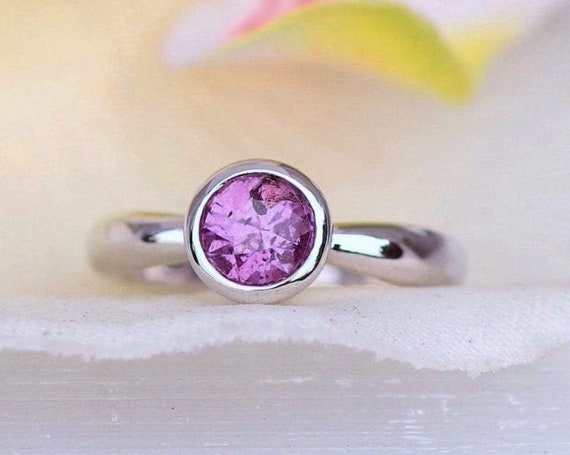 Purple Sapphire Solitaire 14k White Gold Ring