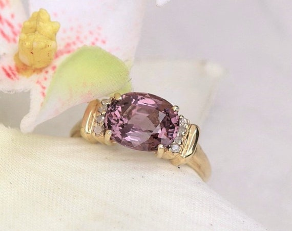 Purple Spinel Over 3cts Right Hand Ring in 10K Yellow Gold