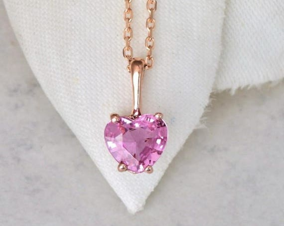 Handmade Heart Pink Sapphire Rose Gold Layering Necklace