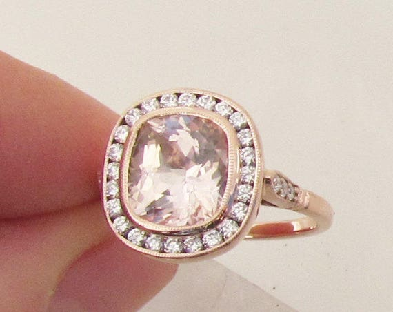 Vintage Peach Sapphire Rose Gold Ring