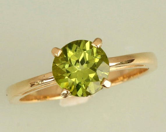 Solitaire Peridot Gold Ring.  August Birthstone